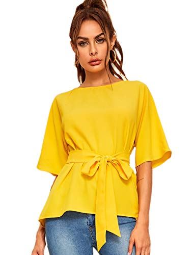 Romwe Women's Casual Short Sleeve Belted Waist Chiffon Blouse Top Yellow L