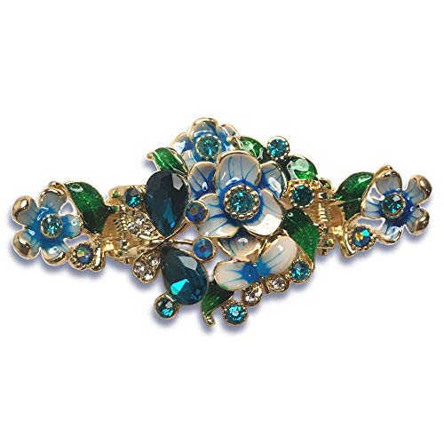 Enamel Painted Flowers and Jeweled Butterfly Metal Hair Claw on Dual Spring Gold Metal Clip (Blue)