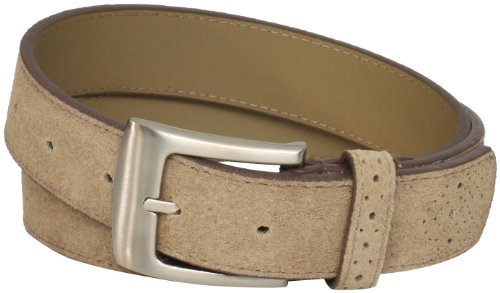 Stacy Adams Men's 32mm Suede Leather Belt with Perforated Tip and Keeper, Sand, ()