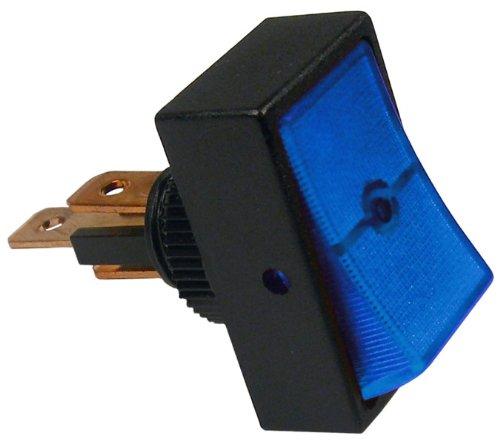 PICO 5518PT Jumbo On-Off Rocker- Illuminated Blue 1-2 Round Hole 1-4 Blades 12 Vlt 16 Amp