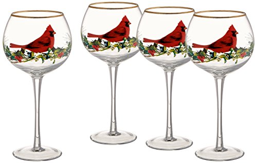 Lenox Winter Greetings Cardinal Balloons Glasses (Set of 4), Clear from Lenox