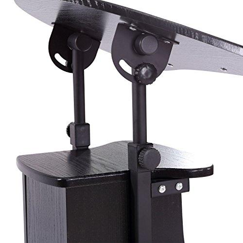 HOMCOM Adjustable Height Laptop Cart with Storage - Black by HOMCOM (Image #4)