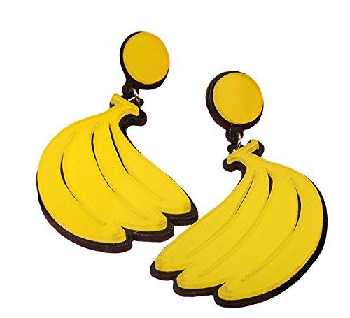 (ASKANA Fashion Women`s Acrylic Cute Yellow Banana Branch Stud Earrings)
