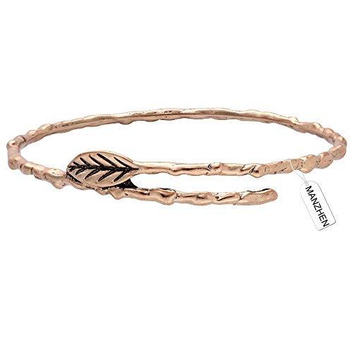 MANZHEN Fashion Vintage Antique Bronze Branch Leaves Charm Bangle Bracelet Jewelry for Women (rose