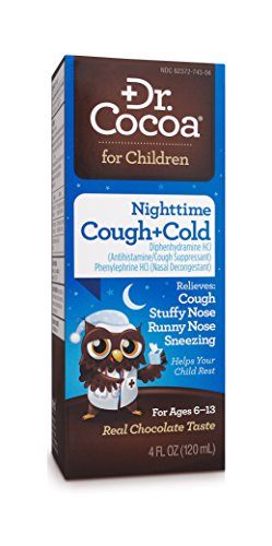 Dr. Cocoa Cough and Cold Medicine for Kids, Nighttime Formula, Real Chocolate Taste, 4 Fluid ()