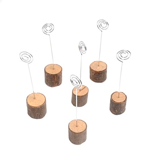 Mandydov 6pcs Wooden Card Holders Table Number Cards Tabletop Signs for Home Wedding Party Decoration (Commercial Wooden Table Tops compare prices)