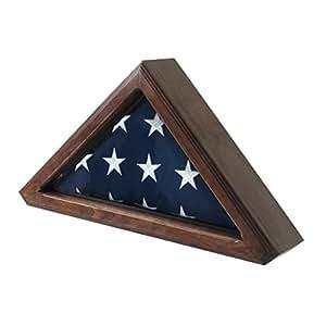 Senators Flag Display Case for 3ft x 5ft Flags - Walnut Finish