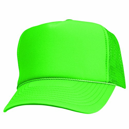 2 Packs NEON Baseball Caps Blank Trucker Hats Summer Mesh Bachelorette Capl (2 FOR Price of 1) (NEON - GREEN) -