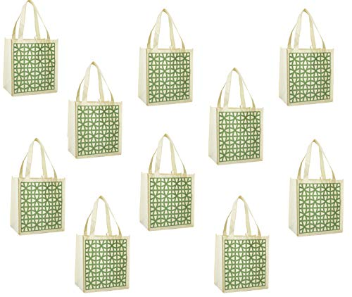 ReBagMe (TM) Set of 10 Large Reusable Grocery Bag Totes with Extra Reinforced Handles Sewn to the Bottom - With Loop for Grocery Stores - Includes Insert on Bottom of Bag for Extra Support (10, Green)