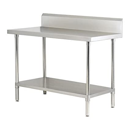 Custom Stainless Steel Work Table with Under Shelf & Back Splash (Size : 1500x700x850 mm)