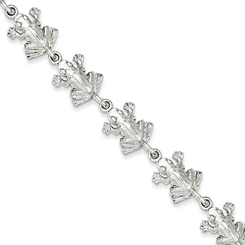 (Sterling Silver Frogs Bracelet 7 Inches Long)