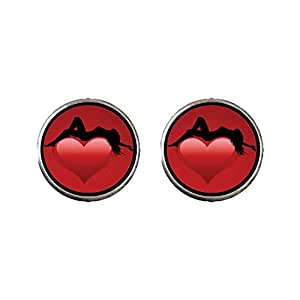 Chicforest Silver Plated Graceful Woman On Red Heart Photo Stud Earrings 10mm Diameter