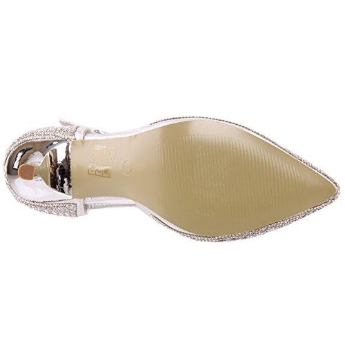 Unze Zapatos Shimmery puntiagudo Corte Mujeres Jose ' Plateado