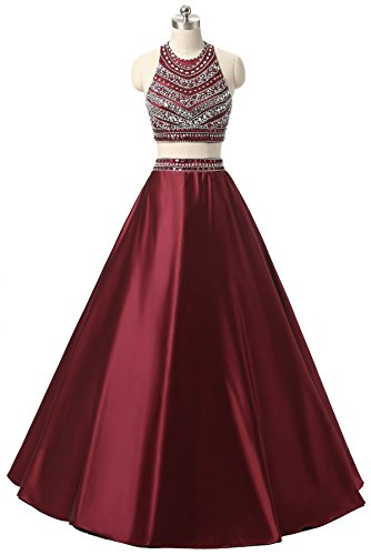 Himoda Women's Two Pieces Beaded Evening Gowns Satin Sequined Prom Dresses Long H052 2 Burgundy