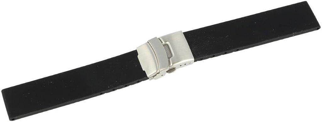 Correa para reloj de pulsera de Puregrey, 20 mm, de silicona y caucho, con cierre desplegable de acero inoxidable, color negro liso