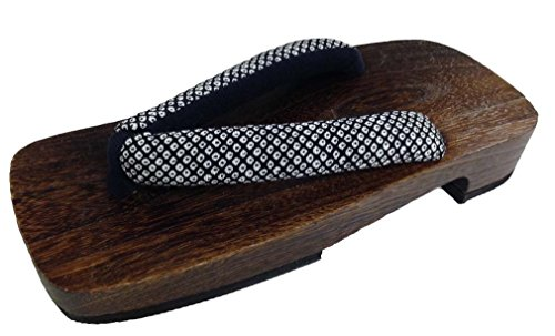 Black with White Dot Design Geta Wooden Sandals 11 for sale  Delivered anywhere in USA