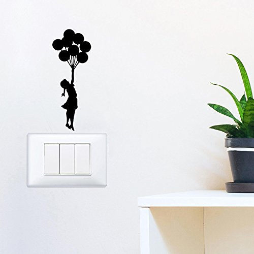 YINGKAI Little Girl And Balloon Light Switch Decal Vinyl Wall Decal Sticker Art Living Room Carving Wall Decal Sticker for Nursery Kids Room Home Window (Monte Carlo Balloon)