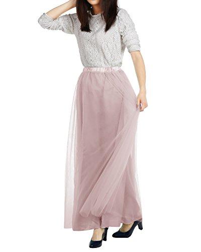 DRESSTELLS Long Tulle Skirt Maxi Chiffon Petticoat Prom Gowns Two Way Formal Skirt Blush ()