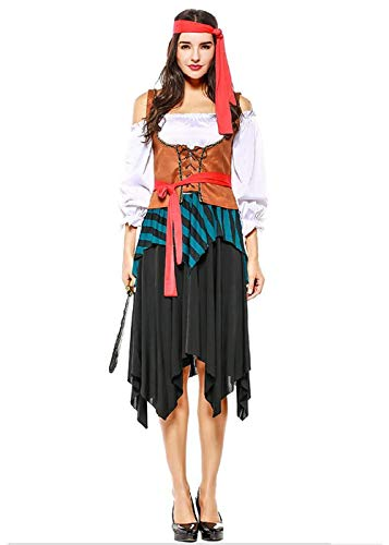 Taopleker Women Halloween Pirate Wench Costume, Cosplay and Make Up Party Costume (Black) -