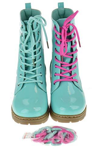 SHOEDEZIGNS Shoe Dezigns Declyn 01 Womens Patent 2 Color Lace Combat Boots Sea Green 10