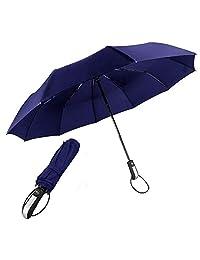 Paraguas Plegable Automatico Portatil, Paraguas Plegables Vogue Mujer y Hombre, Paraguas de Viaje Resistente Viento Impermeable Compacto, con Rayas Reflectantes y Apertura y Cierre Automático (Azul)