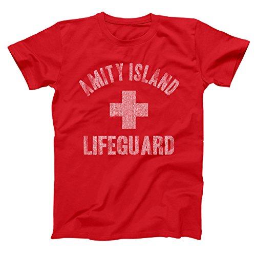 Amity Island Lifeguard Shark Jaws Mens Shirt Small Red
