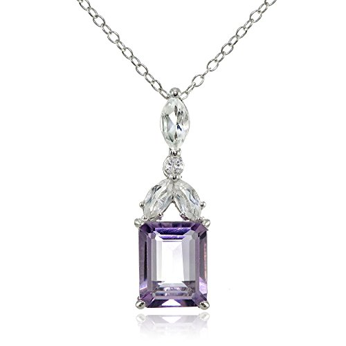Amethyst Cut Pendant Emerald (Sterling Silver Amethyst and White Topaz Emerald-Cut Necklace)