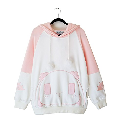 Pink Bunnies Fluffy (Rosy Rabbit Plush Hoodie with Bunny Ears (XL))
