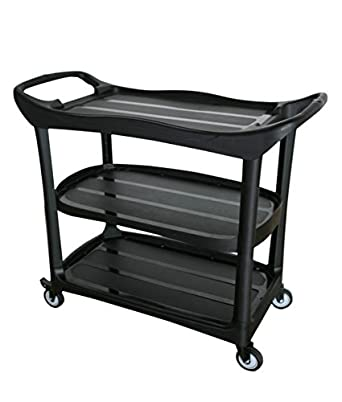 Large Size Utility Cart 3 Shelf Cart with Heavy Duty Plastic