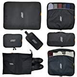 electronics cube - 7 Pcs Packing Cubes with Toiletry Bag and Electronic Accessories Organizer and Laundry Bag (Black) Waterproof Lightweight Travel Luggage Organizer bags