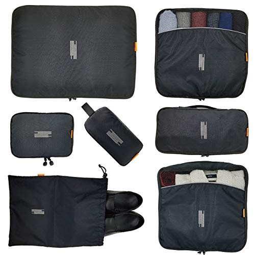 7 Pcs Packing Cubes with Toiletry Bag and Electronic Accessories Organizer and Laundry Bag (Black) Waterproof Lightweight Travel Luggage Organizer bags
