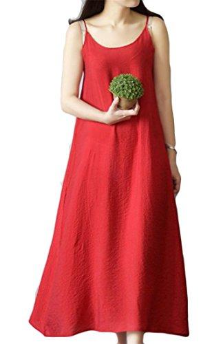 Cotone Vestito Rosso Casuale Di Cinghia Solido Cromoncent Di Linea Spaghetti Del Carro Top Delle Una Armato Donne 1qawnC1Or