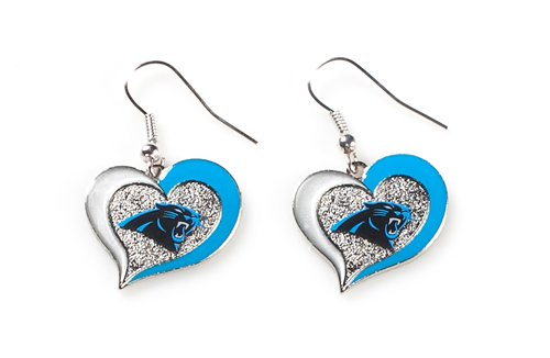 aminco Carolina Panthers NFL Sports Team Logo Swirl Heart Shape French Hook Style Charm Dangle Earring Set Multi