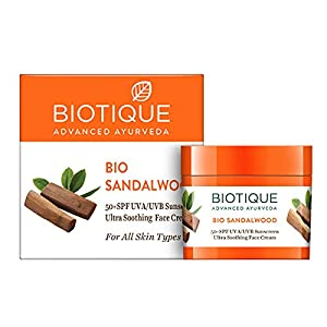 Biotique Bio Sandalwood Face & Body Sun Cream Spf 50 Uva/Uvb Sunscreen For All Skin Types In The Sun Very Water…