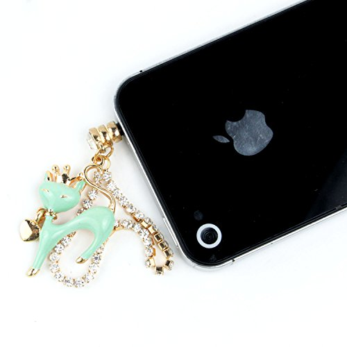 Leegoal(TM) Green Universal 3.5mm Bling Crystals Crown Cat Chain Cell Phone Charms Dust Plug for iPhone Samsung iPod HTC