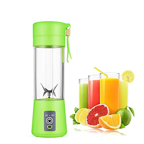 Portable blender Personal 6 Blades Juicer Cup Household Fruit Mixer,With Magnetic Secure Switch, USB Charger Cable 380ML (Green)