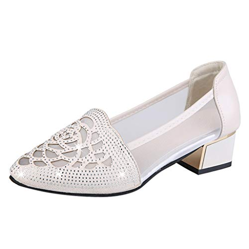(GINELO New Rhinestone mesh Openwork Breathable Single Female Thick Pointed Shallow Mouth Women's Shoes White)