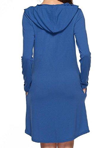 Tasca Con Comodi Manica La Blu Pullover Donne Incappucciati Vestito Delle Casuale Lunga a8xZnUFnqO