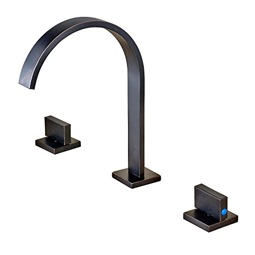 Rozin Widespread 3 Holes Bathroom Sink Faucet Two Handles Basin Mixer Tap Oil-rubbed Bronze (Bath Taps Set Sink And)