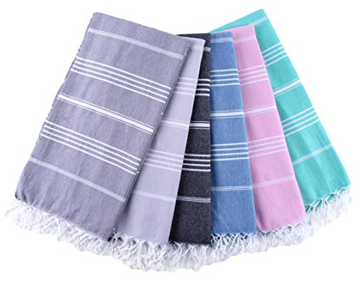 Turkish Towel Set of 6 - Pre-Washed 100% Cotton Turkish Beach Towel, Eco-Friendly, High Absorbent, Extra Soft, Shrink Proof (6, 39'' x 71'' Turkish Towel Set of 6, Displayed Colors) by Fringe Home (Image #1)