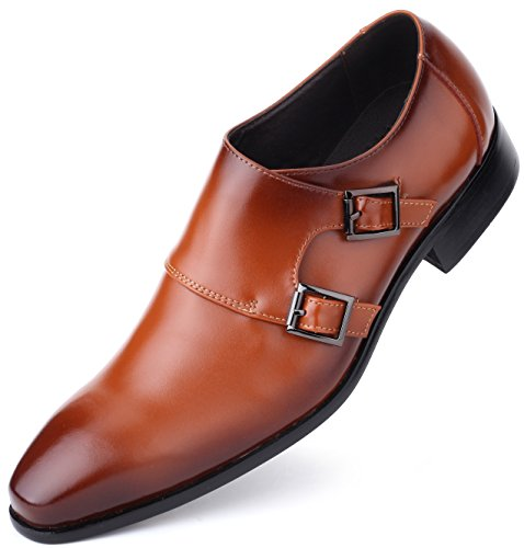 Mio Marino Mens Dress Shoes – Double Monk Strap Slip On Loafer Shoes – Oxford Leather Shoes For Men, in a Shoe Bag – Umber – Monk Strap – 10 D (M) US