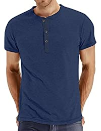 Men's Cotton Casual Slim Fit Henley T-Shirts