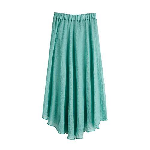CZYCO Women's Bohemian Style Elastic Waist Band Cotton Linen Loose Casual Solid Maxi Half Skirt Dress(XL,Green)