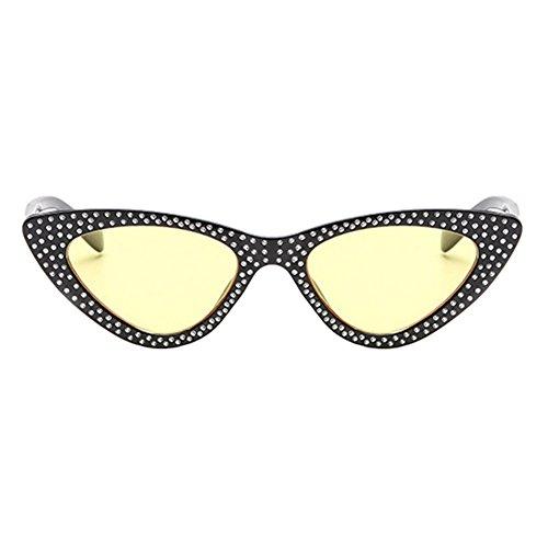 Lunettes Papillon De Jaune Femmes Retro Chat Vintage amp; Triangle Pour Œil Strass Cadre Frame Lens Plastique Soleil Meijunter Uv400 Noir F4dxqfzwF