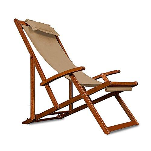 Wooden Deck Chair Fabric Folding Garden Chairs made of Hardwood Beige Cream