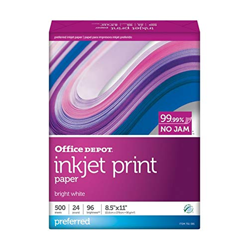 - Office Depot Inkjet Print Paper, 8 1/2in. x 11in, 24 Lb, 30% Recycled, Ream of 500 Sheets, 0