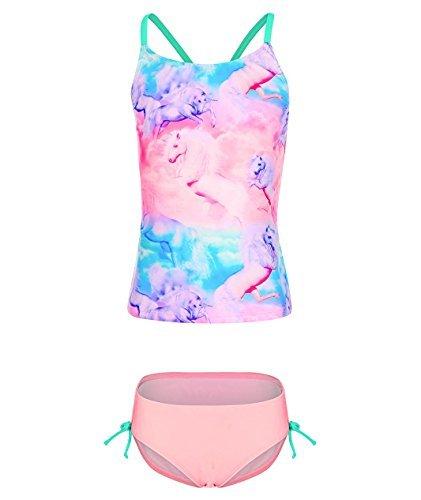 Girls Tankini (BELLOO Girls Tankini 2 Piece Bathing Suits with Unicorn, Pink, 7-8)