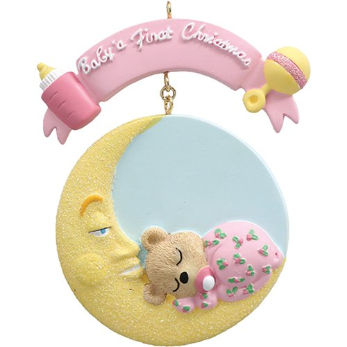 (Personalized Baby's 1st Christmas Mr. Moon Tree Ornament 2019 - Little Bear Sleeping Round Bed Girl's First Glitter New Mom Shower Gift Grand-Daughter Kid - Free Customization (Pink))