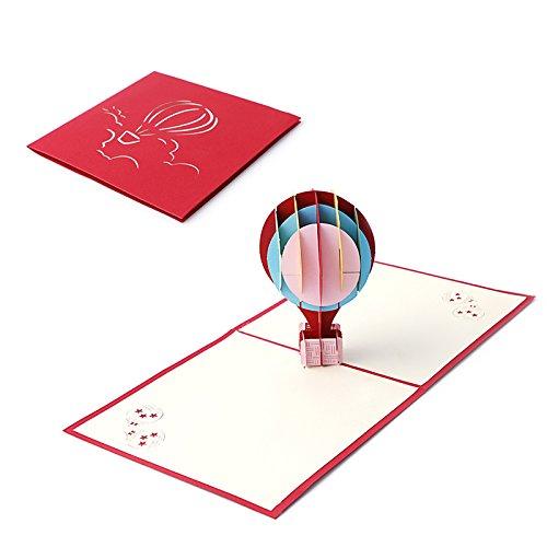 Kofun 3D Pop Up Biglietto di Auguri con Busta di Carta Artigianato Natale Compleanno Capodanno invito Mongolfiera model