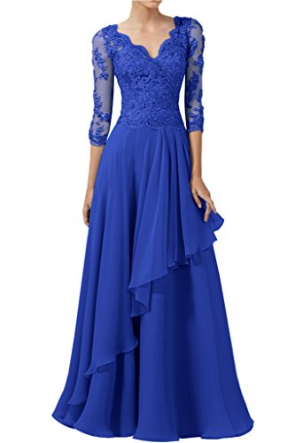 MILANO BRIDE 2017 Cheap V-neck 3/4 Sleeves Applique Chiffon Prom Dress Pageant Gown-17W-Royal Blue